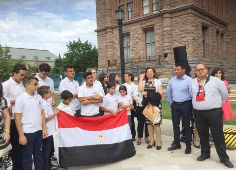 وزيرة الهجرة تشهد مراسم رفع العلم المصري في برلمان أونتاريو بكندا