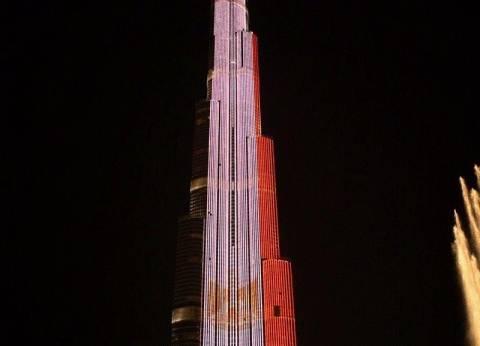 برج خليفة يتزين بألوان علم مصر