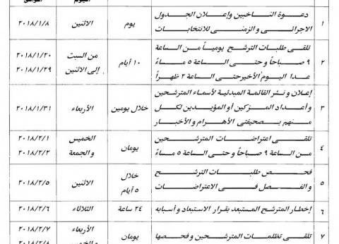 """""""معلومات الوزراء"""" ينشر جدول إجراءات الانتخابات الرئاسية لعام 2018"""