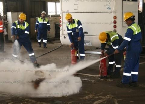 """""""ميناء دمياط"""" ينفذ مناورة تدريبية على مواجهة حريق افتراضي بالورش"""