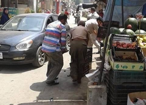 حملة في شوارع القناطر لرفع الإشغالات العشوائية