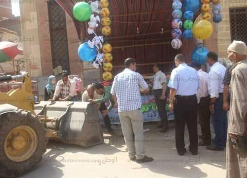 بالصور| حملة لرفع الإشغالات والتندات والكراسي المخالفة في كفر الشيخ