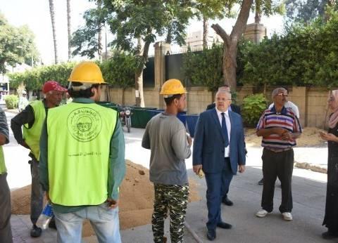رئيس جامعة القاهرة يتفقد أعمال تطوير الحرم الجامعي