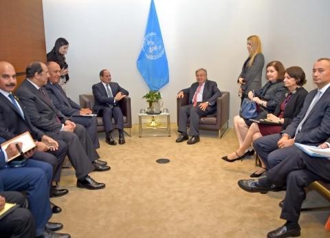 السيسي يؤكد لجوتيريس دعم مصر لجهود الأمم المتحدة لتحقيق الأمن والسلام