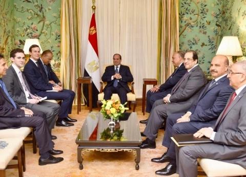 """السيسي لـ""""كوشنير"""": مصر داعمة لأي جهود تضمن حل عادل للقضية الفلسطينية"""