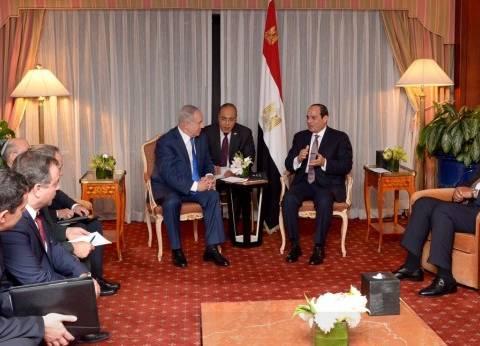 السيسي يبحث مع نتنياهو استئناف عملية السلام وإقامة دولة فلسطينية
