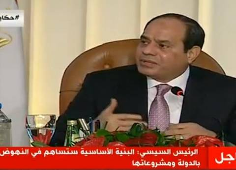 """السيسي محذرا: """"انهيار الدولة هيخلينا نضيع كلنا"""""""
