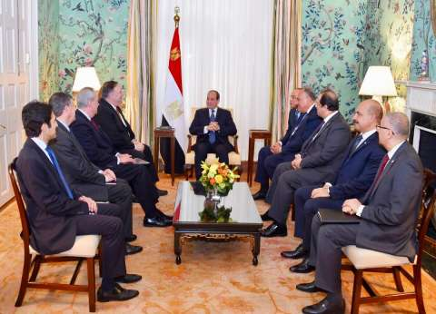 السيسي يبحث مع وزير الخارجية الأمريكي تطورات الأوضاع في الشرق الأوسط