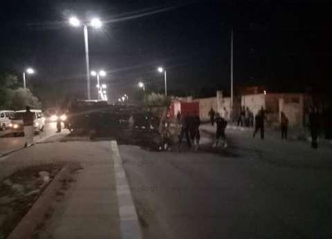 """تعطل الحركة المرورية على """"الزراعي"""" إثر انقلاب سيارة أنابيب بوتاجاز"""