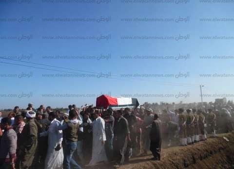 """أهالي """"الروبيات"""" بالفيوم يشيعون جثمان شهيد العريش مجند أحمد معوض"""