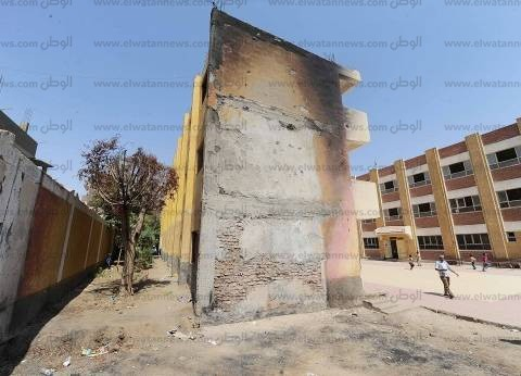 «نجع الكوم».. مبنى محترق ودورات مياه مغلقة