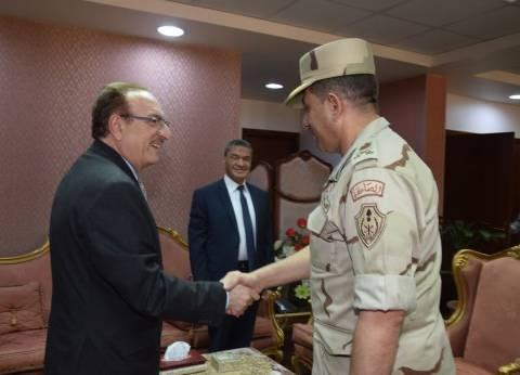 بالصور| محافظ بني سويف يستقبل رئيس أركان قوات الدفاع الشعبي والعسكري