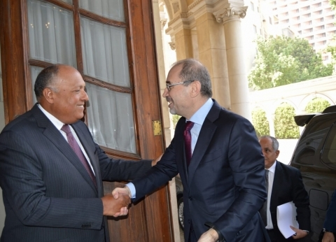 """""""شكري"""" و""""الصفدي"""" يتفقان على ضرورة إقامة الدولة الفلسطينية المستقلة"""