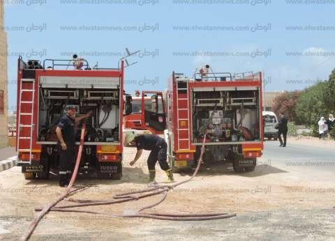سيناريو تدريبي لإطفاء حريق ضخم بجوار محطة بنزين بمطروح في أقل من 15 دقيقة