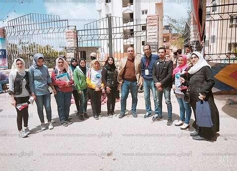 مسيرات لطلبة دمياط وأساتذة الجامعة للمشاركة بالاستفتاء