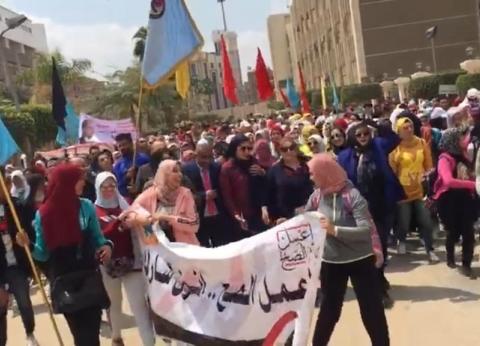 """مسيرة لطلاب """"التربية الرياضية"""" بطنطا للمشاركة في الاستفتاء"""