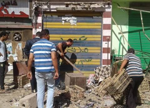 حملة أمنية مكبرة لرفع الإشغالات بقرية البصارطة في دمياط