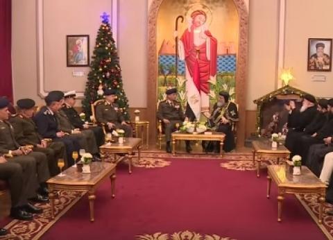 المتحدث العسكري ينشر فيديو تهنئة وزير الدفاع للبابا بعيد الميلاد