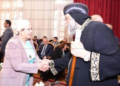 """""""عائشة عبدالهادي"""" و""""عصام خليل"""" يزوران الكاتدرائية لتهنئة البابا بالعيد"""