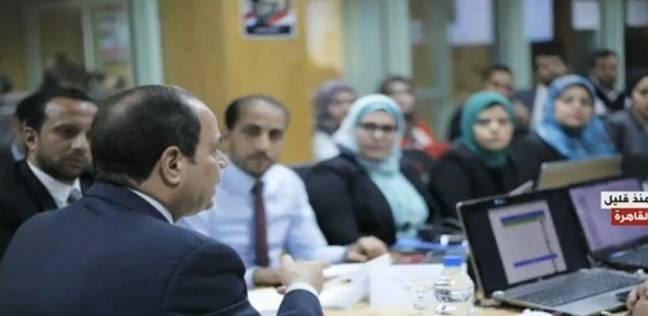 بالصور| السيسي يتابع سير الانتخابات من مقر حملته الانتخابية