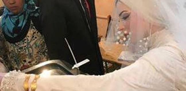 فضل وهدير عروسان يصوتان في انتخابات الرئاسة بالمنيا