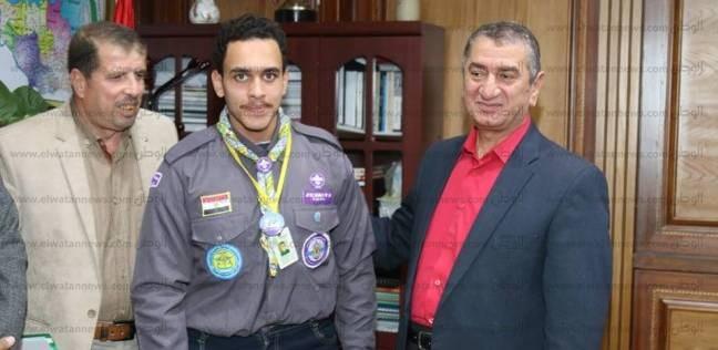 محافظ كفر الشيخ يستقبل ممثل المحافظة في المخيم الكشفي