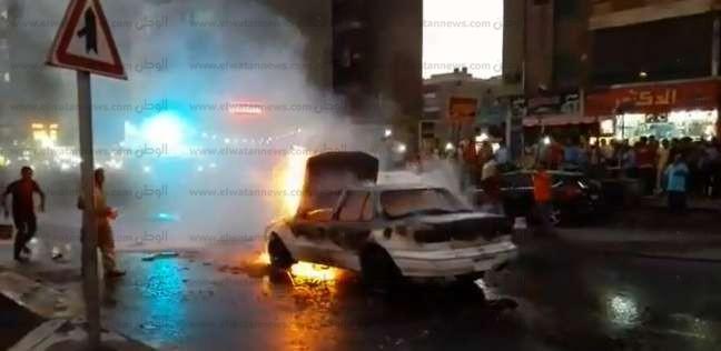 إخماد حريق سيارة بالسنبلاوين في الدقهلية