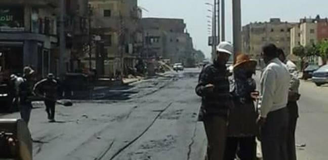 رصف شارع ناصر بمدينة كفر سعد في دمياط