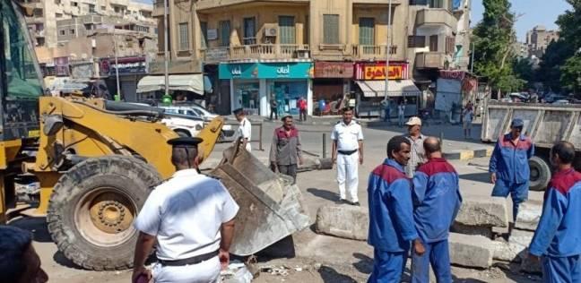 إزالة الحواجز الخرسانية بمحيط قسم السيدة زينب لتحقيق السيولة المرورية