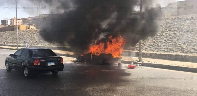 مصرع شخصين إثر اشتعال سيارة ملاكي بطريق السخنة