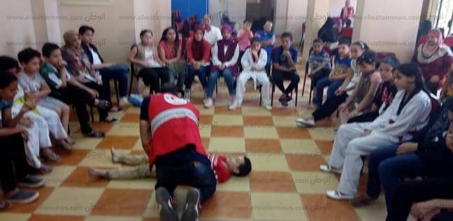 """بالصور  """"الهلال الأحمر"""" بكفر الشيخ يدرب الأطفال على الإسعافات الأولية"""