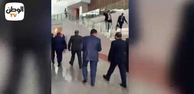 بالفيديو والصور| الرئيس السيسي يصل إلى مقر الاتحاد الإفريقي