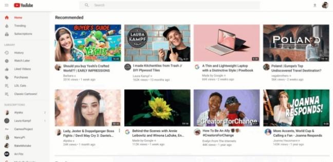 الصفحة الرئيسية لموقع يوتيوب (YouTube)