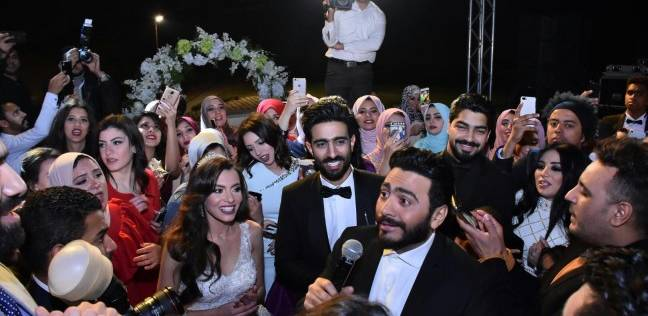 بالصور| تامر حسني وسميرة سعيد ولطيفة في زفاف كارمن سليمان