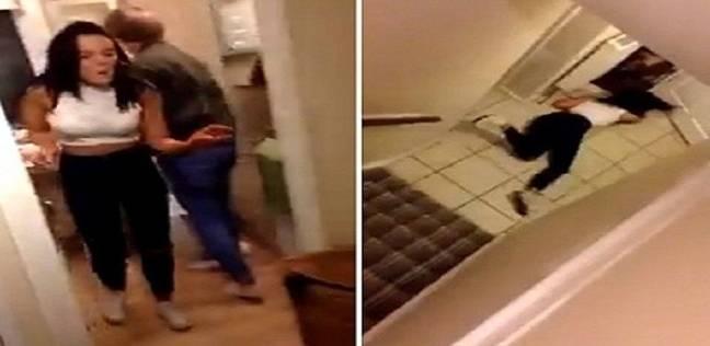 شاهد ماذا حصل لحسناء أثناء قيامها بقفزة على الدرج