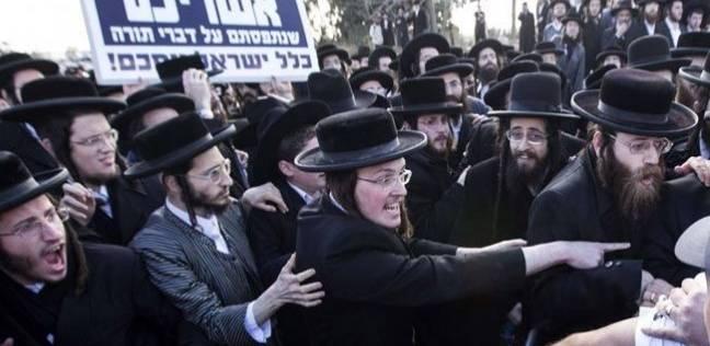 مظاهرة ليهود متشددين ضد الخدمة العسكرية الإلزامية في اسرائيل