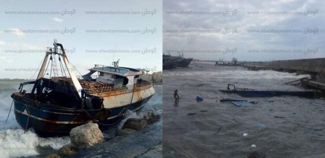 تهشم مركب صيد بسبب الطقس السيئ في الإسكندرية