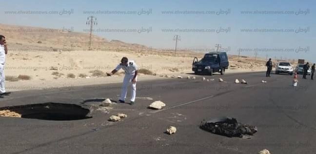 تحذير من هبوط أرضي بعمق 3 أمتار على الطريق الدولي بجنوب سيناء