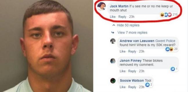 الشاب جاك مارتن الذي قبضت عليه الشرطة بعد أن علق على اعلان تطلب فيه الشرطة مساعدة الناس في القبض عليه