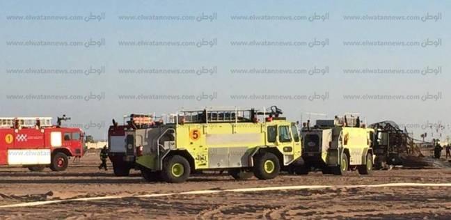 بالصور| مطار شرم الشيخ يشهد تجربة إطفاء طائرة مشتعلة