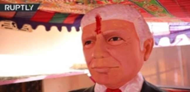 تمثال ترامب في المعبد الخاص الذي أقامه رجل هندي