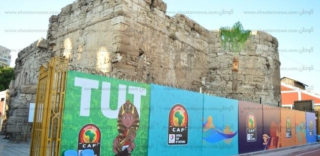 """""""توت"""" تميمة أمم إفريقيا تزين سور الإسكندرية الأثري القديم فى ستاد المجموعة 2"""