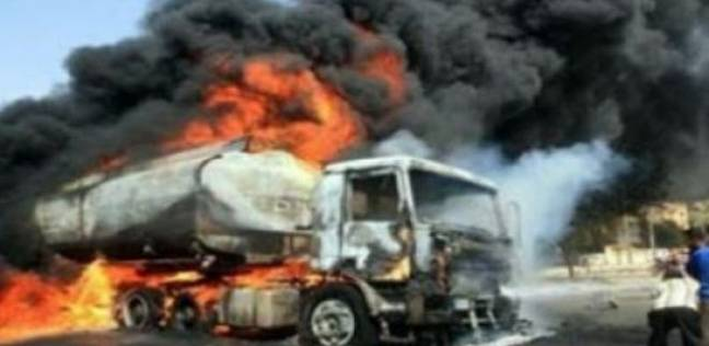 اشتعال النيران في سيارة محملة بـ62 طن بنزين وتفحم قائدها في سوهاج