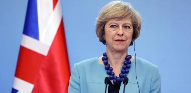 """""""السعال"""" و""""محتج"""" يقطعان كلمة رئيسة الوزراء البريطانية"""
