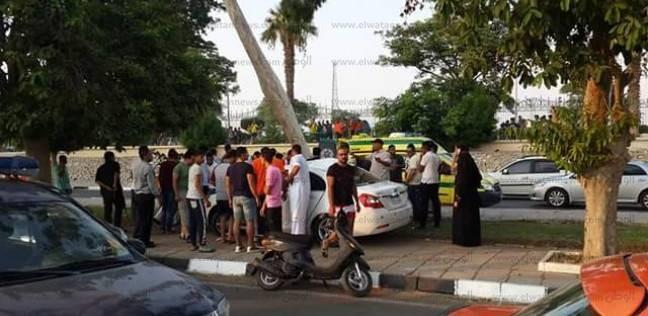 إصابة شاب في حادث تصادم أمام مقر شرطة النجدة بالفيوم
