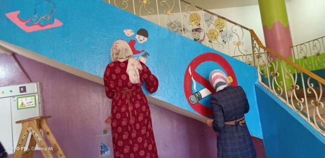"""بنات""""we Can""""يبدعون في رسم الجداريات داخل الجميعات الخيرية ودور الأيتام"""