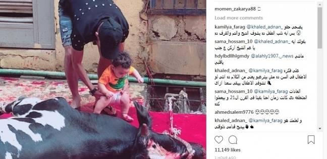 """مؤمن زكريا ينشر صورة ابنه أثناء الذبح.. ومعلق: """"ذنبه إيه يشوف الدم"""""""