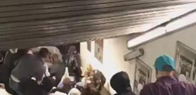 فيديو| خروج سلم كهربائي عن السيطرة في محطة مترو يتسبب في إصابة العشرات