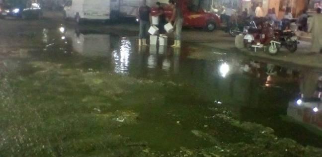 غرق أكبر ميادين السويس في مياه الصرف الصحي
