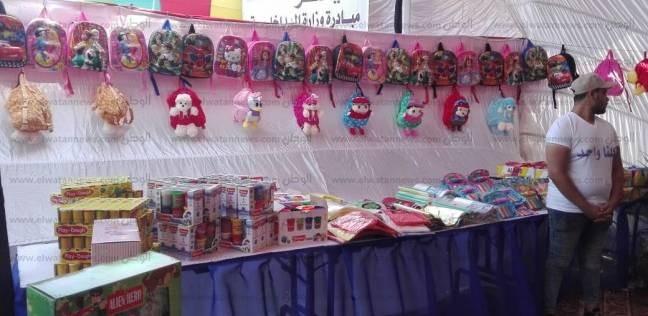 إقبال كبير على معرض بيع الشنط المدرسية بسعر التكلفة بمركز شباب الجزيرة